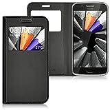 kwmobile Flip Case Hülle für Motorola Moto G5 mit Sichtfenster - Aufklappbare Kunstleder Schutzhülle im Flip Cover Style in Schwarz
