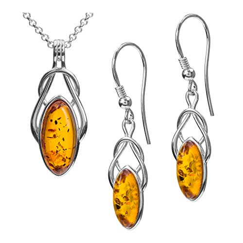 Amber Sterling Silver Celtic Earrings Pendant Necklace Set Chain 46 cm