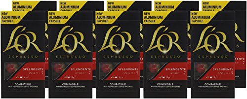 L'OR Espresso Splendente Intensity 7 – Nespresso* Compatible Coffee Capsules (Pack of 10, 100 Capsules in Total)