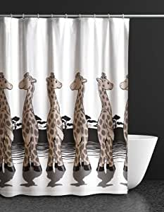 rideau de douche motif girafe 120 x 180 cm blanc marron. Black Bedroom Furniture Sets. Home Design Ideas