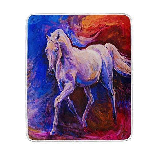 vinlin Decke mit Pferdemotiv, Samt, weich, warm, leicht, für Wohnzimmer, Outdoor, Reisen, 127 x 152 cm