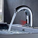 Obeeonr Wasserhahn Sensor Badezimmer Automatische Induktion Kaltwasser Waschtischarmatur Handwaschbecken mit Infrarot Wasserfall Armatur Waschbecken für Badzimmer