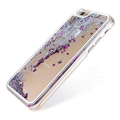 Coque de telephone portable des sables mouvants - TOOGOO(R)Etui des des sables mouvants avec paillette etoile brillant transparent liquid pour iPhone 5/5s argent