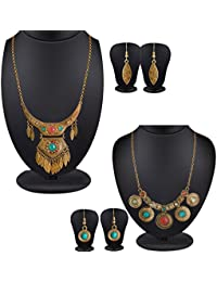 Spargz Leaf Multicolor Stone Chunky Statement Pack Of 2 Choker Necklace Set For Women COMBO 675