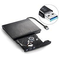 Salcar- Externes CD DVD Laufwerk, Brenner USB 3.0 Ultra Slim Portable für Laptops und Desktops unterstützt Windows XP/2003/Vista/7/8/10, Mac OS - (Schwarz)