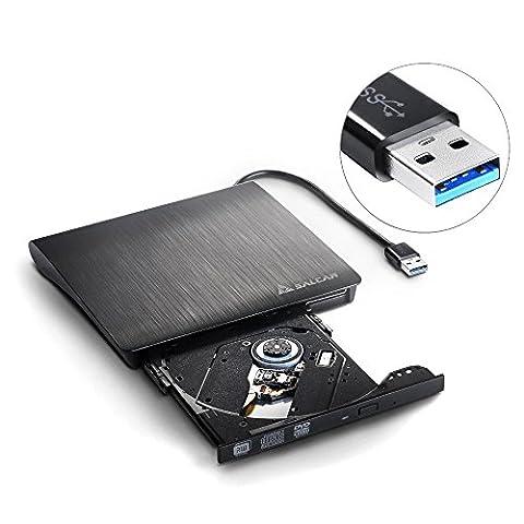 Salcar - Drive Graveur Lecture CD/DVD-RW Externe USB 3.0, disque dur externe antichoc et antibruit, (Air Burner)