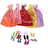 Gazechimp 5 Piezas Trajes de Vestido Muñecas+10 Pares Zapatos para Barbie Accesorios Multicolor