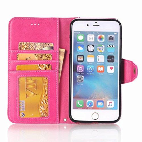 Custodie Apple IPhone 6 6s Cover, Yiizy Business Design Custodia Portafoglio Silicone Gomma Flip Cover Case PU Pelle Cuoio Copertura Case Slot Schede Cavalletto Stile Libro Bumper Protettivo Borsa (Ro Rosa Rossa