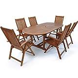 Deuba Sitzgruppe Vanamo 6+1 | 6 verstellbare Stühlen | ausklappbarer Tisch - 2 x 1,0 m Länge | FSC®-zertifiziertes Eukalyptusholz [ Modellauswahl 4+1/6+1/8+1 ] - Sitzgarnitur Gartenmöbel Set