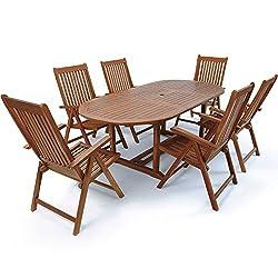 Deuba seating group Vanamo 6 + 1 FSC®-certified eucalyptus wood foldable 7-piece table seating set wood garden furniture garden set
