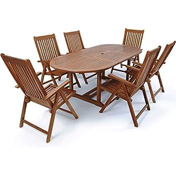 Tavoli E Sedie Da Giardino In Legno Prezzi.Set Pranzo Da Giardino In Legno Teak Con Tavolo Sedie E