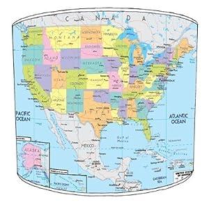 Premier Lampshades–Tabla Mapa de Estados Unidos Drum Pantalla