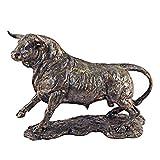 G&S Taureau Neuf Statue 35cm Design Couleur Bronze en polyrésine décoration SUD