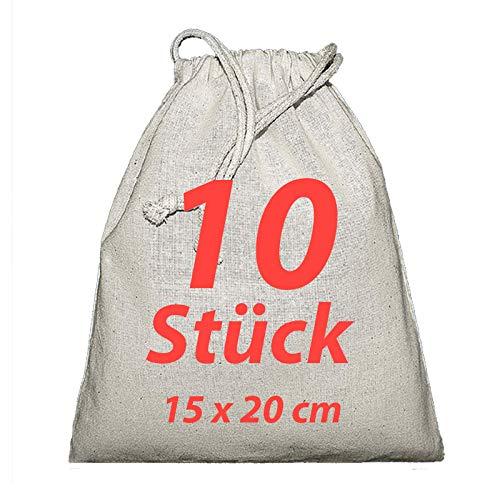 Sacchetto di stoffa zuzieh sacchetto con coulisse Natura 15x 20cm 10pezzi