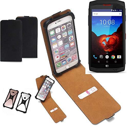 K-S-Trade Flipstyle Case kompatibel mit Crosscall Trekker X3 Schutzhülle Handy Schutz Hülle Tasche Handytasche Handyhülle + integrierter Bumper Kameraschutz, schwarz (1x)