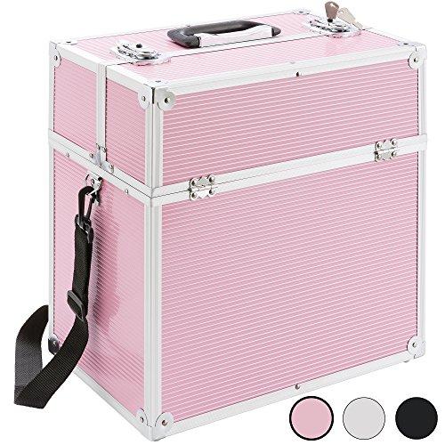 Arebos Kosmetikkoffer 32 l/Ausziehfäher auf beiden Seiten (pink)