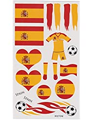 LIHAO(Para España Fan)4 set de Tatuajes Temporales para Fútbol Partido