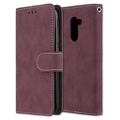 Chreey Alcatel A3 Hülle, Matt Leder Tasche Retro Handyhülle Magnet Flip Case mit Kartenfach Geldbörse Schutzhülle Etui [Rose Rot]