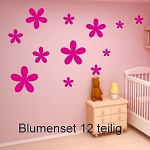Fiori Set rosa 12 pezzi. Adesivi 6 centimetri-20cm finestra da bagno piastrelle fiori colore decorativo (colore inviare in un messaggio tramite Amazon con)