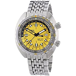 DOXA SUB 750T GMT Divingstar Herren Automatik Uhr mit Gelb Zifferblatt Analog-Anzeige und Silber Edelstahl Armband 850.10Y.361N.10