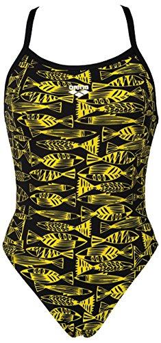 Arena - Costume Fisk intero da nuoto, Donna, Giallo - Nero/giallo, 44 IT