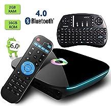 Globmall ABOX Android 6.0 Smart TV Box 2GB RAM 16GB AmlogicS905X Quad Core Bluetooth 4.0 Doble banda WiFi 5GHZ 4K 3D TV Box