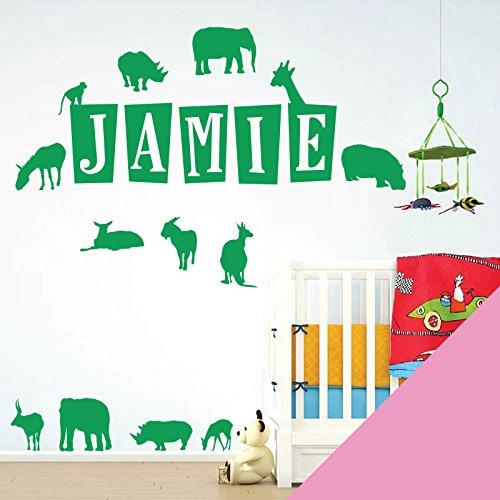 Wall Designer Personalisierte Namen Art Wand Aufkleber-Zoo Tiere, Safari, Elefant, Nashorn, Giraffe, Antelope-[nur Nachricht Uns mit der Name.], Pink, L (950 x 290 mm)