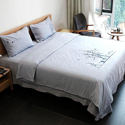 WANS Antikes Dickes Tuch handgefertigt Vier Set Bettbezug Bestickt Doble1.8M Rural Simple Espesar Queen2 A -