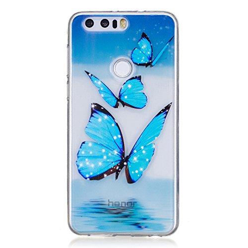 Huawei Honor 8 Hülle, Cozy Hut® [Liquid Crystal] Soft Flex Silikon [Crystal Clear] Transparent Ultra Dünn Schlank Bumper-Style Handyhülle Premium Kratzfest TPU Durchsichtige Schutzhülle für Huawei Honor 8 Case Cover, Honor 8 Case Cover - Blue Butterfly