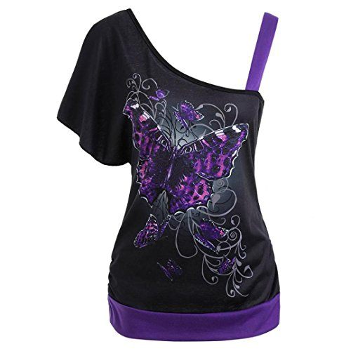 Damen Kurzarm,Frashing Frauen Schmetterlings Druck Skew Kragen T-Shirt Kurzarm Casual Tops Bluse Summer Butterfly Print Casual Tops Blouse (S, Schwarz) -