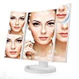 Illuminated Makeup Mirror,10X 3X 2X 1X Makeup Light Table Mirror 22 LEDs Lighted Tri-Fold Makeup Mirror with Touch Screen and 180°Adjustable Stand Dual Power Mode Travel Beauty Mirror (White)