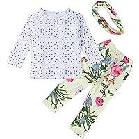 Le SSara T-shirt manica lunga fiori Leggings & Hairband 3pcs set & neonate