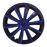 (Größe wählbar) 15 Zoll Radkappen / Radzierblenden GRALO MATT (Schwarz-Blau) passend für fast alle Fahrzeugtypen – universal