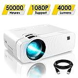 Mini Vidéoprojecteur, ELEPHAS 4000 Lumens Projecteur Portable Soutien 1080P Rétroprojecteur Compatible USB/HD/SD/AV/VGA pour Home Cinéma, Durée de Vie Jusqu'à 50000 Heures, Blanc...