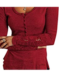 AIYUE Camisetas de Manga Larga Mujer Encaje Blusa Casual Cuello Redondo Estilo Suelto Top T-shirt