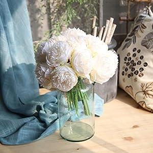 Longra Künstliche Seide gefälschte Blumen Pfingstrose Kunstblume Blumenstrauß Blumen-Bouquet Bridal Bouquet Blume Hochzeit Home Party Dekoration 5 Köpfe Bouquet (A)
