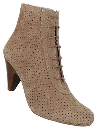 Damen Schuhe Stiefeletten Perforierte Leder Schnür Boots Hellbraun