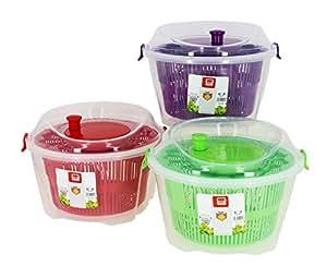 Util'Home 5040400 Essoreuse à Salade Plastique Transparent + Panier Vert/Rouge/Violet 24 x 17 cm