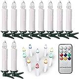 SunJas 30er Weihnachten Kerzen RGB, kabellose Weihnachtskerzen mit Fernbedienung, Weihnachtsbeleuchtung, LED Kerzen in 3 verscheidene Blinkeffekt,  für Weihnachtsbaum