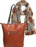 Portogarda Damen-Handtasche Umhänge- Henkel-Tasche hell-braun Set mit Schal Hals-Tuch 80 x 180cm