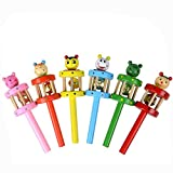 Rcool Baby Kid Colorful Cartoon Animal Wooden Handbell Musical Developmental Instrument Puzzle Toy Child Gift