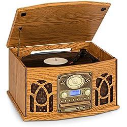 AUNA NR-620 Dab Chaîne stéréo - Compacte, Platine Vinyle 33 et 45 TR/Min, Lecteur CD,CD-R/RW & MP3CD, Platine Cassette, Radio Dab+/FM, BT, Port USB, Easy Recorder, Design Bois, Brun