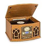 auna NR-620 - Impianto Stereo DAB, Giradischi 33 e 45 RPM, Lettore CD, Registratore Cassette, Radio, Bluetooth, Porta USB, Easy Recorder, Riproduce CD, CD-R/RW e MP3, Effetto Legno, Marrone