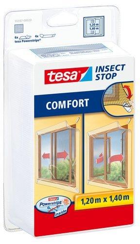 TESA 55187-00020-00 Malla para ventanas correderas con fijación Powerstrips, color blanco