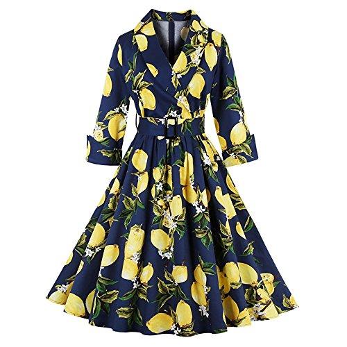 DressLily Vintage High Waist Lemon Print Belted Women Dress,Purplish Bule,L