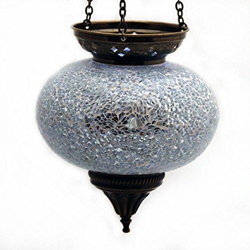 Lámpara de techo Luz techo Lámpara de exterior lámpara de techo de cristal blanco portavelas con motivos orientales mano decoración–Gall & Zick Farol