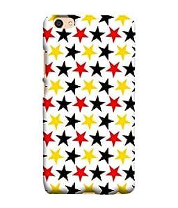 PrintVisa Designer Back Case Cover for Vivo V5 (Stars In Black Red And Yellow Colour)