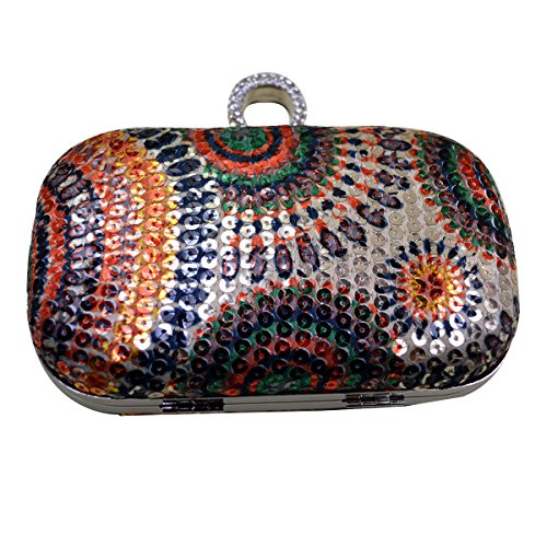 Anello da donna con strass paillettes AISI sera frizione mini pochette da sera party bag, Multicolour (Multicolore) - hyh-06 Multicolour