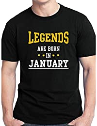 Grafytees Legends Are Born In January - Stars Black Unisex Graphic Printed Birthday Month Round Neck T-Shirt