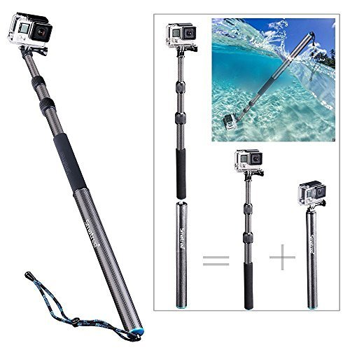 Smatree Kohlefaseres Selfie Stick Abnehmbare Erweiterbar Schwimmende Pole für DJI OSMO Action/Gopro Hero7/Hero2018, GoPro Hero 6/5/4/3+/3/2/1/Session